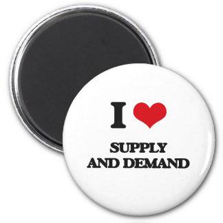 Amo la oferta y la demanda imán redondo 5 cm