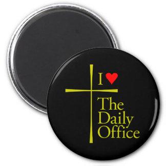 Amo la oficina diaria imán redondo 5 cm
