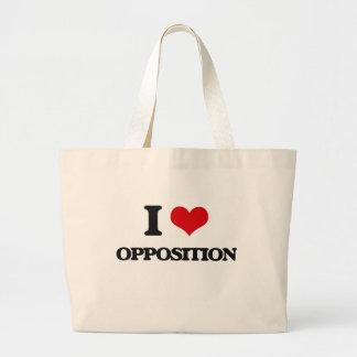 Amo la oposición bolsa tela grande
