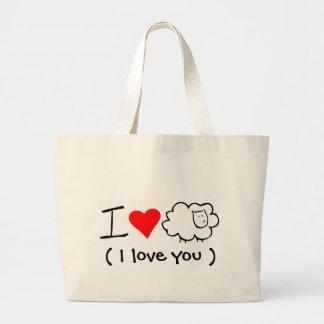 Amo la oveja (usted) Totebag Bolsa Tela Grande