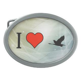 Amo la pajarera hebillas cinturón ovales