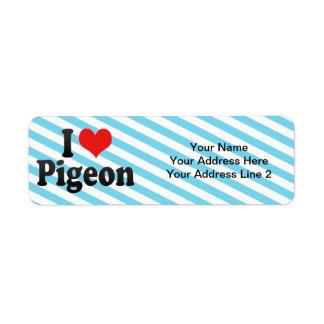 Amo la paloma etiquetas de remite