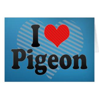 Amo la paloma tarjeta de felicitación