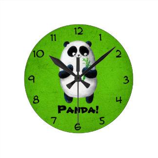 Amo la panda reloj redondo mediano