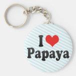 Amo la papaya llaveros