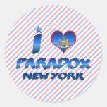 Amo la paradoja, Nueva York Pegatina Redonda
