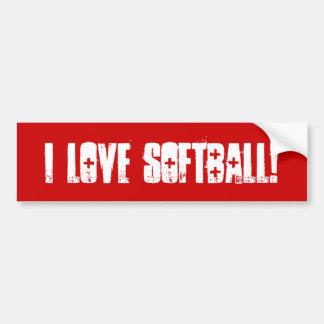 Amo la pared del softball a la pegatina para el pa pegatina de parachoque