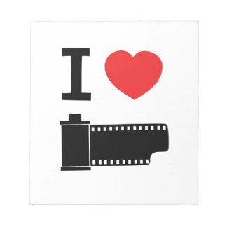 Amo la película bloc de papel