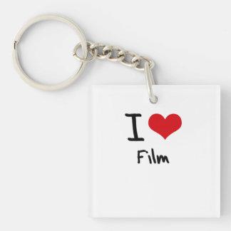 Amo la película llavero cuadrado acrílico a una cara