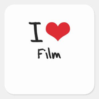 Amo la película pegatinas cuadradases personalizadas