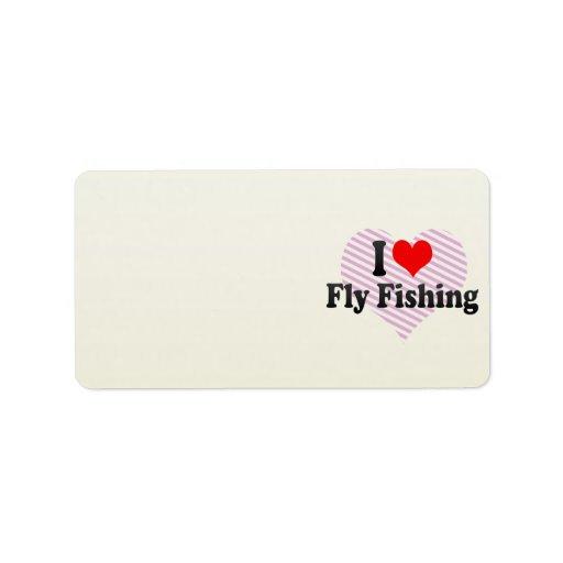 Amo la pesca con mosca etiquetas de dirección