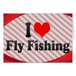 Amo la pesca con mosca tarjetas
