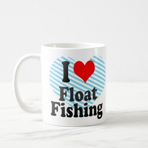 Amo la pesca del flotador taza básica blanca