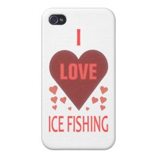Amo la pesca del hielo iPhone 4/4S fundas
