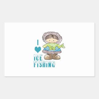 Amo la pesca del hielo pegatina rectangular