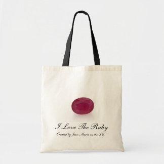 Amo la piedra preciosa de rubíes bolsa tela barata
