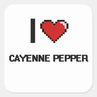 Amo la pimienta de cayena pegatina cuadrada