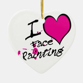 Amo la pintura de la cara adorno navideño de cerámica en forma de corazón