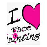 Amo la pintura de la cara membretes personalizados
