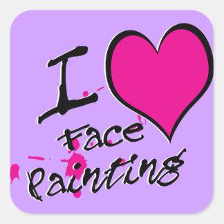 Amo la pintura de la cara pegatina cuadrada