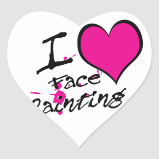 Amo la pintura de la cara pegatina en forma de corazón