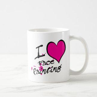 Amo la pintura de la cara taza