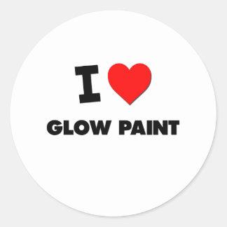 Amo la pintura del resplandor pegatina redonda