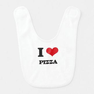 Amo la pizza baberos de bebé