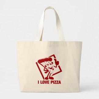 Amo la pizza bolsa tela grande