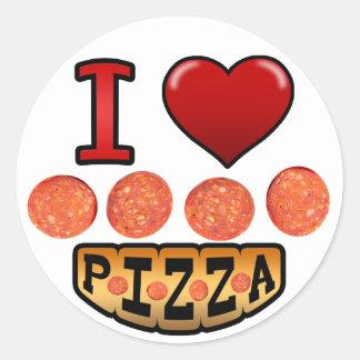 Amo la pizza de salchichones etiquetas redondas