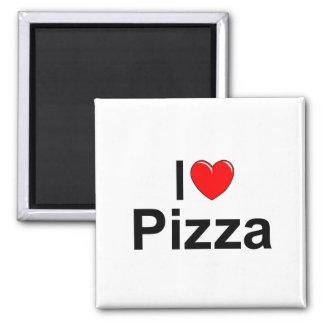 Amo la pizza (del corazón) imán cuadrado