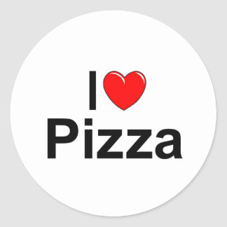 Amo la pizza (del corazón) pegatina redonda