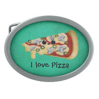Amo la pizza hebillas cinturon ovales