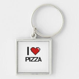 Amo la pizza llavero cuadrado plateado