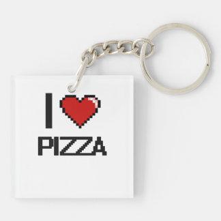 Amo la pizza llavero cuadrado acrílico a doble cara