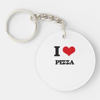 Amo la pizza llavero redondo acrílico a una cara
