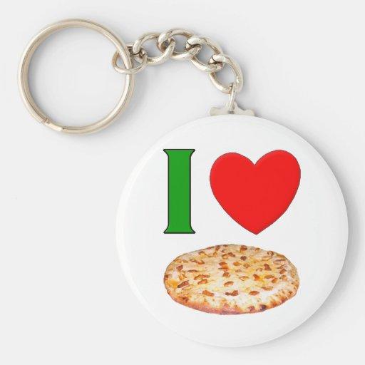 Amo la pizza llavero redondo tipo pin