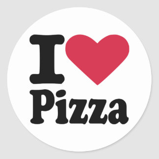 Amo la pizza pegatina redonda