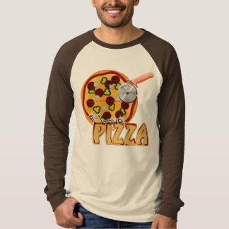Amo la pizza - raglán largo básico de la manga playeras