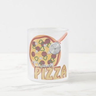 Amo la pizza - taza del vidrio esmerilado