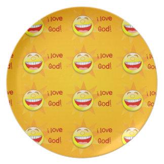 Amo la placa de dios plato de cena