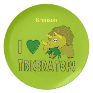 Amo la placa personalizada dinosaurio del plato de cena