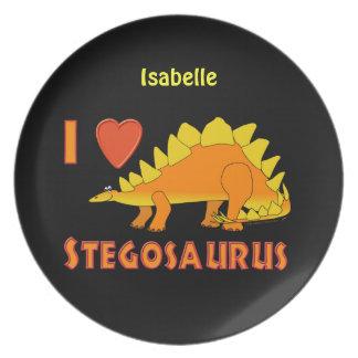 Amo la placa personalizada dinosaurio del platos de comidas