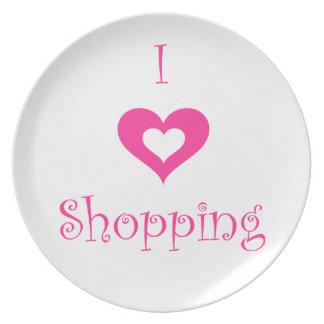 Amo la placa que hace compras plato de cena