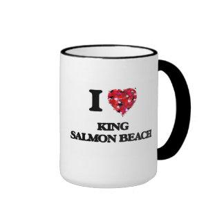 Amo la playa Alaska de rey salmón Taza De Dos Colores