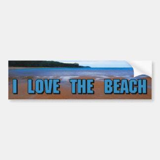 Amo la playa pegatina de parachoque