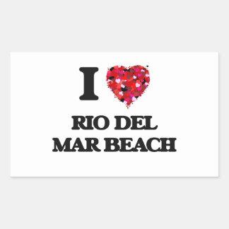 Amo la playa California de Río Del Mar Pegatina Rectangular