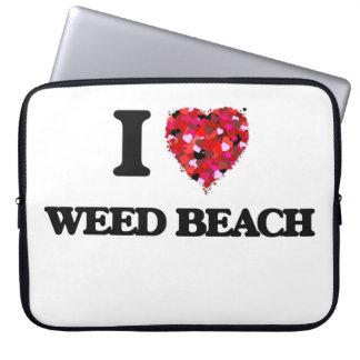 Amo la playa Connecticut de la mala hierba Funda Ordendadores