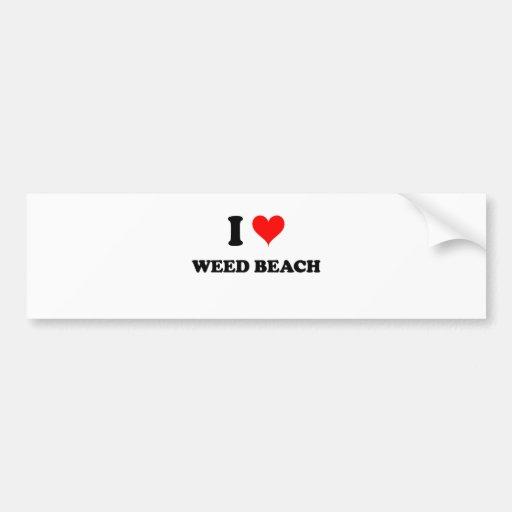 Amo la playa Connecticut de la mala hierba Pegatina Para Auto