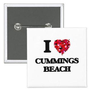 Amo la playa Connecticut de los Cummings Pin Cuadrada 5 Cm